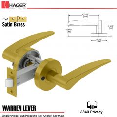 Hager 2340 Warren Lever Tubular Lockset US4 Stock No 169820