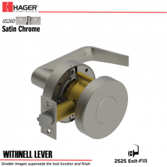 Hager 2525 Withnell Lever US26D Door Lock Stock No 147419