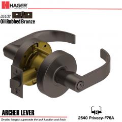 Hager 2540 Archer Lever US10B Door Lock Stock No 153688