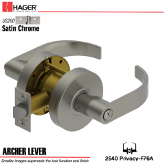 Hager 2540 Archer Lever US26D Door Lock Stock No 140491