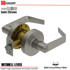 Hager 2550 Withnell Lever US26D Door Lock Stock No 142690