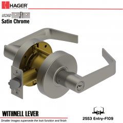 Hager 2553 Withnell Lever US26D Door Lock Stock No 163745