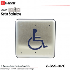 Hager 6 in. Square Actuator Handicap Logo Only Stock No 162708