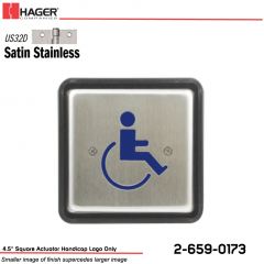 Hager 4.5 in. Square Actuator Handicap Logo Only Stock No 162711