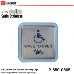 Hager 4.75 in. Square Actuator with Text and Handicap Logo Stock No 185056