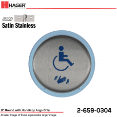 Hager 6 in. Round Actuator with Handicap Logo Only Stock No 185058