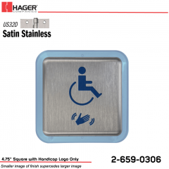 Hager 4.75 in. Square Actuator with Handicap Logo Only Stock No 185059