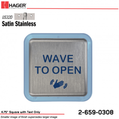 Hager 4.75 in. Square Actuator with Text Only Stock No 186794