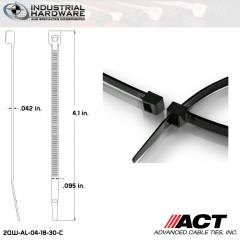 ACT AL-04-18-30-C Miniature 18 LB 4 in. Nylon Heat Stabilized Black Cable Tie (10000 Pcs/Case)