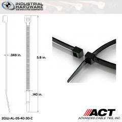 ACT AL-05-40-30-C Intermediate 40 LB. 5 in. Nylon Heat Stabilized Black Cable Tie (10000 Pcs/Case)