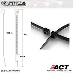 ACT AL-05-40-30-M Intermediate 40 LB. 5 in. Nylon Heat Stabilized Black Cable Tie (10000 Pcs/Case)