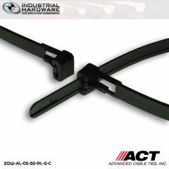 ACT AL-05-50-RL-0-C 5 in. Tab Releasable Cable Ties Black 2000 Pcs/Case