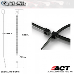 ACT AL-06-18-30-C Miniature 18 LB 6 in. Nylon Heat Stabilized Black Cable Tie (10000 Pcs/Case)