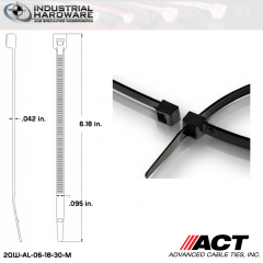 ACT AL-06-18-30-M Miniature 18 LB 6 in. Nylon Heat Stabilized Black Cable Tie (10000 Pcs/Case)