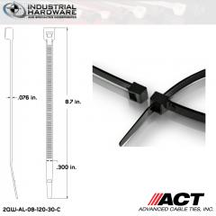 ACT AL-08-120-30-C Heavy Duty 120LB.  8 in. 120lb Heat Stabilized Black Ties (3000 Pcs/Case)