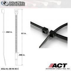 ACT AL-08-18-30-C Miniature 18 LB 8 in. Nylon Heat Stabilized Black Cable Tie (10000 Pcs/Case)