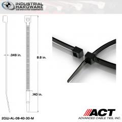 ACT AL-08-40-30-M Intermediate 40 LB. 8 in. Nylon Heat Stabilized Black Cable Tie (10000 Pcs/Case)