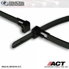 ACT AL-08-50-RL-0-C 8 in. Tab Releasable Cable Ties Black 5000 Pcs/Case