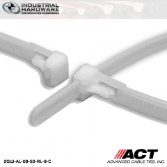 ACT AL-08-50-RL-9-C 8 in. Tab Releasable Cable Ties Natural 5000 Pcs/Case