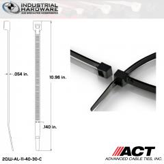 ACT AL-11-40-30-C Intermediate 40 LB. 11 in. Nylon Heat Stabilized Black Cable Tie (5000 Pcs/Case)