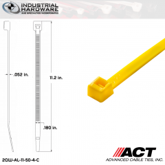 ACT AL-11-50-4-C 11 in. Yellow Cable Tie