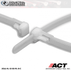ACT AL-12-50-RL-9-C 12 in. Tab Releasable Cable Ties Natural 3000 Pcs/Case