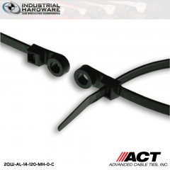 ACT AL-14-120-MH-0-C 14 in. Mounting Hole Cable Ties UV Black 2000 Pcs/Case