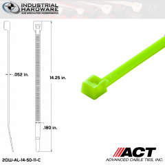ACT AL-14-50-11-C 14 in. Fluorescent Green Cable Tie