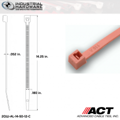 ACT AL-14-50-12-C 14 in. Fluorescent Pink Cable Tie