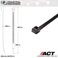 ACT AL-48-175-0-L Extra Heavy Duty 175LB.  48 in. 175lb UV Black Ties (500 Pcs/Case)
