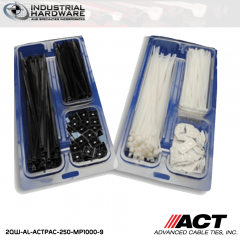 "ACT AL-ACTPAC-250-MP1000-9 Natural 7"" 11"" Cable Tie & 1"" Mounting Base Kit 5kit/Case"