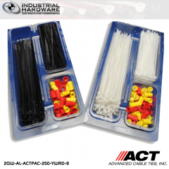 "ACT AL-ACTPAC-250-YWRD-9 Natural 7""-11"" Cable Tie & Wire Nut Kit Red/Yellow"