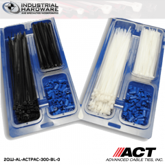 "ACT AL-ACTPAC-300-BL-0 UV Black 7""-11"" Cable Tie & Blue Wire Nut Kit"