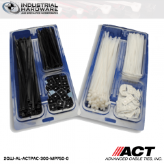 "ACT AL-ACTPAC-300-MP750-0 Black 7"" 11"" Cable Tie & 3/4"" Mounting Base Kit 20kit/Case"