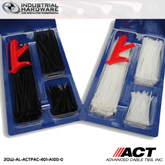 "ACT AL-ACTPAC-401-A100-0 UV Black Cable Tie Kit 4""-7""-11"" with Installation Tool"