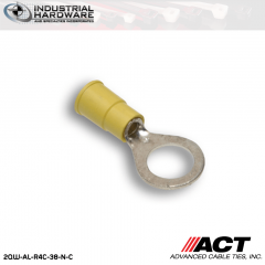 ACT AL-R4C-38-N-C Yellow Double Crimp Nylon Ring Terminal 12-10 AWG 1000 pc/Case