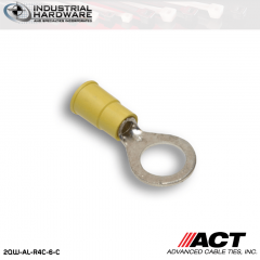 ACT AL-R4C-6-C Yellow Vinyl Ring Terminal 12-10 AWG 1000 pc/Case