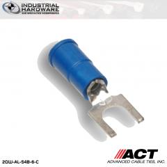 ACT AL-S4B-6-C Blue Vinyl Spade Terminal 16-14 AWG 1000 pc/Case