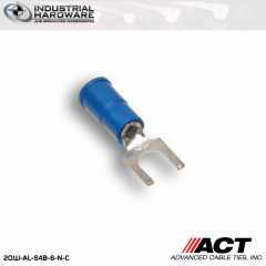 ACT AL-S4B-6-N-C Blue Double Crimp Nylon Spade Terminal 16-14 AWG 1000 pc/Case