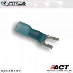 ACT AL-S4B-8-HS-Q Blue Heat Shrink Spade Terminal 16-14 AWG 250 pc/Case