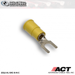 ACT AL-S4C-6-N-C Yellow Double Crimp Nylon Spade Terminal 12-10 AWG 1000 pc/Case