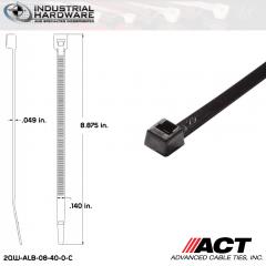 ACT ALB-08-40-0-C ALB-Line Retail Packs 8 in. Nylon UV Black Cable Tie (1000 Pcs/Case)