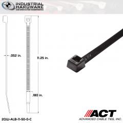ACT ALB-11-50-0-C ALB-Line Retail Packs 11 in. Nylon UV Black Cable Tie (1000 Pcs/Case)
