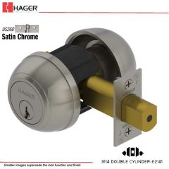Hager 3114 2-3/4 US26D SCE MK Grade 1 Deadlock Stock No 148701