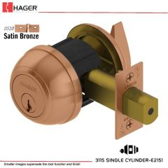 Hager 3115 2-3/4 US10 SCC 0BC Grade 1 Deadlock Stock No 128452