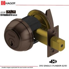 Hager 3115 2-3/8 US10B YAP KA Grade 1 Deadlock Stock No 137940