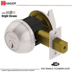 Hager 3115 2-3/8 US26 YAP KD Grade 1 Deadlock Stock No 145958