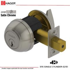 Hager 3115 2-3/4 US26D RD1 KA Grade 1 Deadlock Stock No 148716