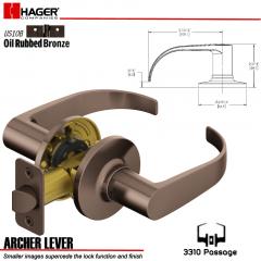 Hager 3310 Archer Lever Tubular Leverset US10B Stock No 144818