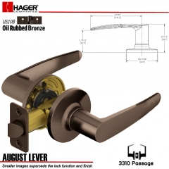 Hager 3310 August Lever Tubular Leverset US10B Stock No 144794